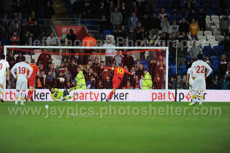 Cardiff City Stadium, Friday 11th Oct 2013. Aaron Ramsey of Wales sees his penalty saved during the Wales v Macedonia FIFA World Cup 2014 Qualifier match at Cardiff City Stadium, Cardiff, Friday 11th Oct 2014. All images are the copyright of Jeff Thomas Photography-07837 386244-www.jaypics.photoshelter.com