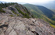 The exposed rocky summit of Mount Flume in the White Mountains of New Hampshire.