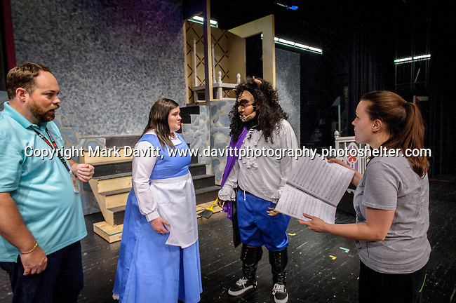 Micheal Davenport, director; Cora Jane Sly as Belle; Ozzie Padilla as the Beast; Dani Boal, choreographer and assistant director; all work together to plan the next scene for Southeast Polk High School's Beauty and the Beast to be presented Nov. 11 at 7 p.m. and Nov. 12 at 7 p.m. In addition, on Nov. 12 at 10–11:30 a.m. The players will host a VIP Enchanted Event in which  guests can meet Bell, the Beast, and other characters.