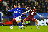 8th January 2020; King Power Stadium, Leicester, Midlands, England; English Football League Cup Football, Carabao Cup, Leicester City versus Aston Villa; Ayoze Perez of Leicester City beats Douglas Luiz of Aston Villa - Strictly Editorial Use Only. No use with unauthorized audio, video, data, fixture lists, club/league logos or 'live' services. Online in-match use limited to 120 images, no video emulation. No use in betting, games or single club/league/player publications