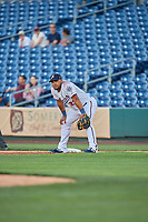 Yasmany Tomas (23) of the Reno Aces on defense against the Nashville Sounds at Greater Nevada Field on June 5, 2019 in Reno, Nevada. The Aces defeated the Sounds 3-2. (Stephen Smith/Four Seam Images)