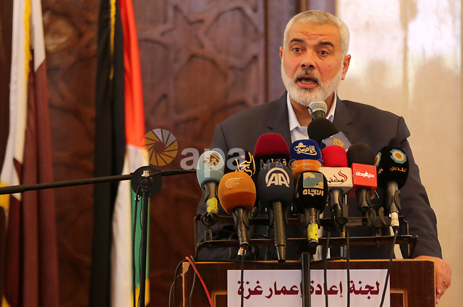 Senior political leaders of the Islamist movement, Ismail Haniyeh speaks during the opening ceremony of Sheikh Hamad's mosque, in Khan Younis in the southern Gaza strip, on April 10, 2017. Photo by Ashraf Amra