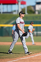 Salt River Rafters relief pitcher Adam Bray (16), of the Minnesota Twins organization, walks off the field between innings of an Arizona Fall League game against the Mesa Solar Sox at Sloan Park on November 9, 2018 in Mesa, Arizona. Mesa defeated Salt River 5-4. (Zachary Lucy/Four Seam Images)