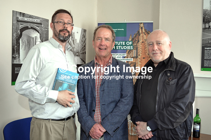 Robert J Savage, the author of &quot;The BBC's Irish Troubles&quot; with Dominic Bryan, head, Institute of Irish Studies, left, and Danny Morrison, prominent member, Provisional Sinn Fein, at the launch of his book in Belfast, N Ireland, 4th June 2014. Savage, the author of a number of Irish-themed publications, is Professor of the Practice of History  at Boston College, Massachusetts, USA. 201506043910<br /> <br /> Copyright Image from Victor Patterson, 54 Dorchester Park, Belfast, UK, BT9 6RJ<br /> <br /> t1: +44 28 9066 1296<br /> t2: +44 28 9002 2446<br /> m: +44 7802 353836<br /> <br /> e1: victorpatterson@me.com<br /> e2: victorpatterson@gmail.com<br /> <br /> IMPORTANT: My Terms and Conditions of Business are at www.victorpatterson.com