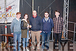 Winners of the Senior  Busking category sponsored by David Ward Accountants . <br /> David Ward present 1st prize to Mich&eacute;al Broderick, Maura O' Connor, James O' Connor &amp; Conor Daly.