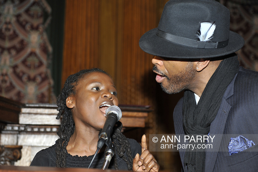 January 11, 2012 - Brooklyn, New York, USA: Felina Backer and E-Uneek sing at 2nd Annual Interfaith Memorial Service for Haiti, Wednesday night at Brooklyn Borough Hall. The service was held two years after the Mw 7.0 earthquake at Haiti.