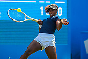 June 18th 2017, Edgbaston Priory Club; Tennis Tournament; Aegon Classic Birmingham; Sunday Qualifiers; Sachia Vickery takes evasive action to play a forehand against Katie Boulter