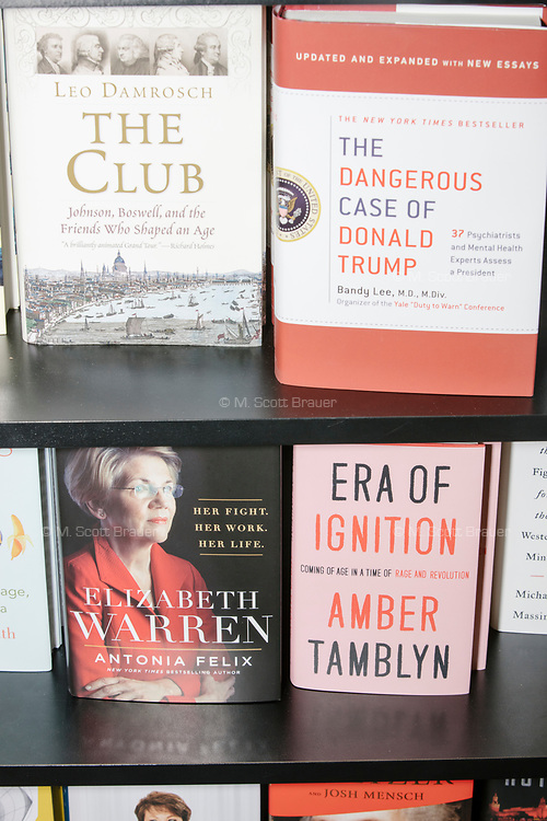 "A copy of the book ""The Dangerous Case of Donald Trump"" and a biography of Elizabeth Warren are seen on a bookshelf at Gibson's Bookstore in Concord, New Hampshire, USA, on Sat., Apr. 6, 2019."