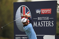 Edoardo Molinari (ITA) on the 3rd tee during Round 4 of the Sky Sports British Masters at Walton Heath Golf Club in Tadworth, Surrey, England on Sunday 14th Oct 2018.<br /> Picture:  Thos Caffrey | Golffile<br /> <br /> All photo usage must carry mandatory copyright credit (&copy; Golffile | Thos Caffrey)