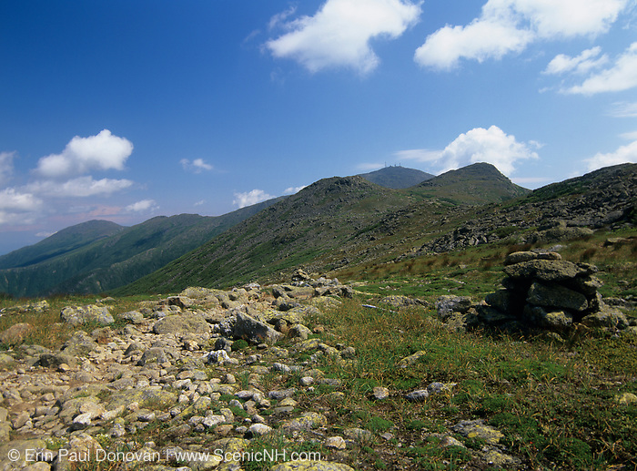 Appalachian Trail - Hiking on crawford Path  in the Presidential Range, which is  located in the White Mountain National Forest of New Hampshire USA. Mount Washington is in between Mount Monroe(two peaks in center). The Northern Presidential range is off to the left.