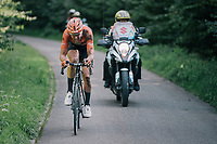 "Jan-Willem Van Schip (NED/Roompot-Nederlandse Loterij) chasing race leader Van Keirsbulck after having crashed out of the lead just earlier<br /> <br /> Antwerp Port Epic 2018 (formerly ""Schaal Sels"")<br /> One Day Race:  Antwerp > Antwerp (207 km; of which 32km are cobbles & 30km is gravel/off-road!)"