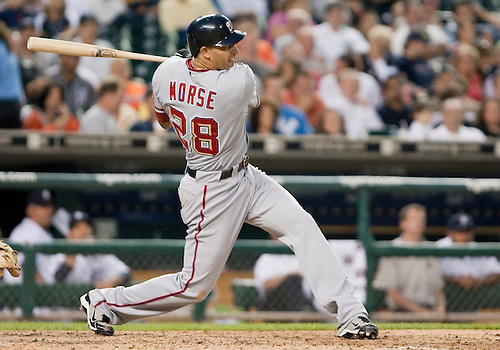 June 15, 2010: Washington Nationals first baseman Mike Morse (#28) follows through on swing in game action between the Washington Nationals and the Detroit Tigers at Comerica Park in Detroit, Michigan.  The Tigers defeated the Nationals 7-4..