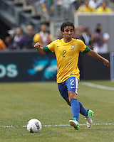 Brazil defender Rafael Silva (2) at midfield. In an international friendly (Clash of Titans), Argentina defeated Brazil, 4-3, at MetLife Stadium on June 9, 2012.