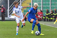 Selma Kapetanovic  of Bosnia and Herzegovina vies for the ball with Elena Linari of Italy<br /> Palermo 08-10-2019 Stadio Renzo Barbera <br /> UEFA Women's European Championship 2021 qualifier group B match between Italia and Bosnia-Herzegovina.<br /> Photo Carmelo Imbesi / Insidefoto