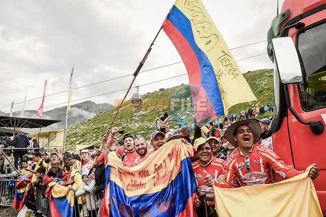 Colombian fans go wild realising that Yellow Jersey Egan Bernal (COL) Team Ineos overall victory is now his at the end of Stage 20 of the 2019 Tour de France running 59.5km from Albertville to Val Thorens, France. 27th July 2019.<br /> Picture: ASO/Pauline Ballet | Cyclefile<br /> All photos usage must carry mandatory copyright credit (© Cyclefile | ASO/Pauline Ballet)