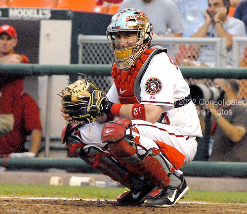 Washington, D.C. - May 31, 2007 --  Washington Nationals catcher Brian Schneider (23) smiles towards the dug-out in the second inning against the Los Angeles Dodgers at RFK Stadium in Washington, D.C. on Thursday, May 31, 2007.  The Nationals won the game 11 - 4..Credit: Ron Sachs / CNP