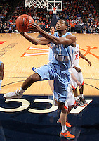 North Carolina guard Dexter Strickland (1) shoots a basket during the game against Virginia at the John Paul Jones arena in Charlottesville, Va. Virginia defeated North Carolina 61-52.