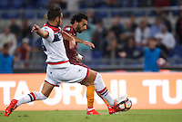 Calcio, Serie A: Roma, stadio Olimpico, 21 settembre 2016.<br /> Roma&rsquo;s Mohamed Salah, right, scores during the Serie A soccer match between Roma and Crotone at Rome's Olympic stadium, 21 September 2016. Roma won 4-0.<br /> UPDATE IMAGES PRESS/Isabella Bonotto
