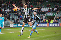 Kelvin Mellor of Plymouth Argyle and Michael Harriman of Wycombe Wanderers during the Sky Bet League 2 match between Plymouth Argyle and Wycombe Wanderers at Home Park, Plymouth, England on 30 January 2016. Photo by Mark  Hawkins / PRiME Media Images.