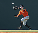 Left fielder Nick Liles (10) of the Augusta GreenJackets picks off a fly ball in a game against the Greenville Drive on May 23, 2010, at Fluor Field at the West End in Greenville, S.C.