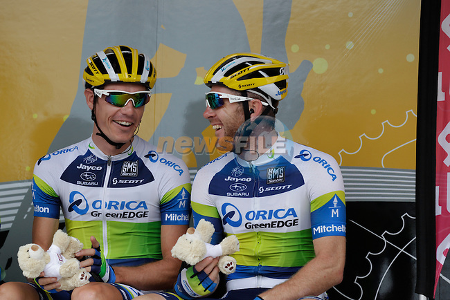 Matthew Harley Goss (AUS) and teammate Orica GreenEdge at sign on before Stage 5 of the 100th Edition of the Tour de France 2013 from Cagnes-Sur-Mer to Marseille. 3rd July 2013.<br /> (Photo: Eoin Clarke/ www.newsfile.ie)