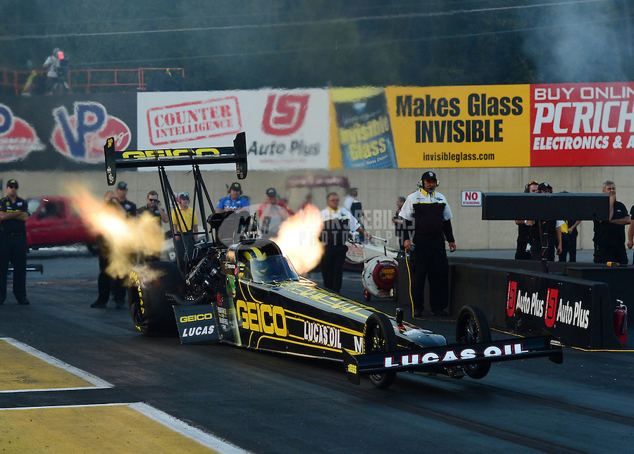 Oct. 5, 2012; Mohnton, PA, USA: NHRA top fuel dragster driver Morgan Lucas during qualifying for the Auto Plus Nationals at Maple Grove Raceway. Mandatory Credit: Mark J. Rebilas-