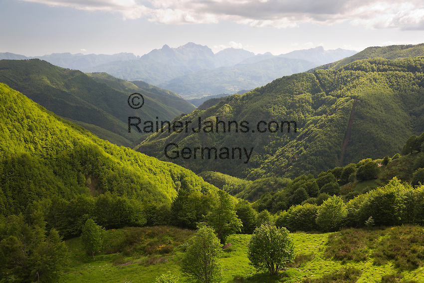 Italy, Tuscany, San Pellegrino in Alpe: View over the Orecchiella and Alpi Apuane mountains | Italien, Toskana, San Pellegrino in Alpe: Blick ueber den Parco dell'Orecchiella in die Apuanischen Alpen