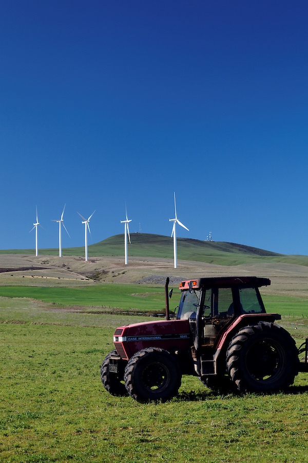 Tractor and wind turbines at Windy Flats wind farm, Haystack Butte, Columbia Hills, Goldendale, Klickitat County, Washington, USA