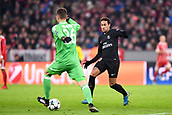 December 5th 2017, Allianze Arena, Munich, Germany. UEFA Champions league football, Bayern Munich versus Paris St Germain;  NEYMAR JR (psg) beaten to the ball by keeper Ulreich who clears the danger
