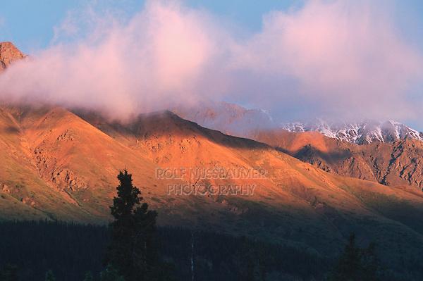 Mountain range and fog, Alaska, USA
