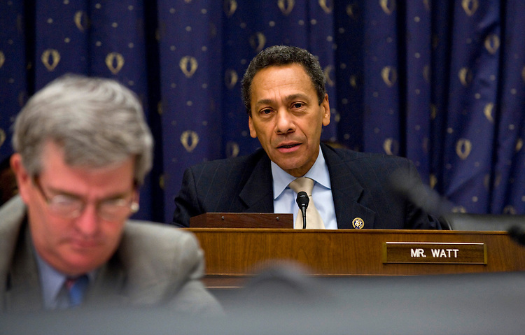 WASHINGTON, DC - Oct. 01: Rep. Melvin Watt, D-N.C., during the House Financial Services hearing with Federal Reserve Chairman Ben S. Bernanke testifies on financial regulatory overhaul. Rep. Brad Miller, D-N.C., is in foreground. (Photo by Scott J. Ferrell/Congressional Quarterly)