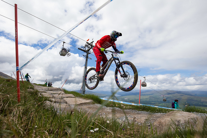 A general view of a competitor during practice for the Downhill event  <br /> <br /> Photographer Craig Mercer/CameraSport<br /> <br /> UCI Mountain Bike World Cup - Friday 2nd June 2017 - Fort William - Scotland<br /> <br /> World Copyright &copy; 2017 CameraSport. All rights reserved. 43 Linden Ave. Countesthorpe. Leicester. England. LE8 5PG - Tel: +44 (0) 116 277 4147 - admin@camerasport.com - www.camerasport.com