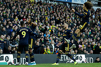 1st December 2019; Carrow Road, Norwich, Norfolk, England, English Premier League Football, Norwich versus Arsenal; Pierre-Emerick Aubameyang of Arsenal celebrates his goal from the penalty spot for 1-1 - Strictly Editorial Use Only. No use with unauthorized audio, video, data, fixture lists, club/league logos or 'live' services. Online in-match use limited to 120 images, no video emulation. No use in betting, games or single club/league/player publications