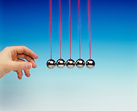 NEWTON TOY PENDULA: COLLISION EXPERIMENT<br /> Newton's Third Law <br /> (2 of 8 - Variations Available)<br /> Conservation of Momentum<br /> Point of collision.