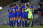 16 October 2015: Duke's starters huddle before the game. The University of North Carolina Tar Heels hosted the Duke University Blue Devils at Fetzer Field in Chapel Hill, NC in a 2015 NCAA Division I Women's Soccer game. Duke won the game 1-0.