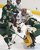 (Evan Stoflet, Joe Rooney) Slavomir Tomko, Andrew Orpik, Joe Fallon - The Boston College Eagles completed a shutout sweep of the University of Vermont Catamounts on Saturday, January 21, 2006 by defeating Vermont 3-0 at Conte Forum in Chestnut Hill, MA.