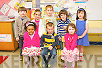 Junior Infant pupils from Scoil An Fheirtéaraigh on their first day at school on Tuesday. Front left: Abigail Piogóid, Aaron Ó Cualain, Niamh Ní Uallachain. Back left: Ruadhan ÓDalaigh, Sarah Ní Allarain, Sean Ó Baoill, Rory McPhilemy, Jude Ní Dhubhagain.