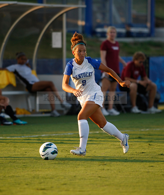The UK Women's Soccer junior Caitlin Landis looks for an open pass against Eastern Kentucky Colonels at UK Soccer Complex on Friday, Aug. 24, 2012. Photo by Scott Hannigan | Staff