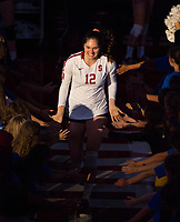 STANFORD, CA - November 4, 2018: Audriana Fitzmorris at Maples Pavilion. No. 2 Stanford Cardinal defeated the Utah Utes 3-0.
