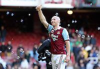 Pictured: James Collins of West Ham thanks home supporters. 01 February 2014<br />