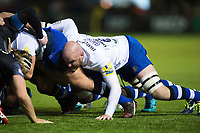 Matt Garvey of Bath Rugby in action at a scrum. Aviva Premiership match, between Newcastle Falcons and Bath Rugby on February 16, 2018 at Kingston Park in Newcastle upon Tyne, England. Photo by: Patrick Khachfe / Onside Images