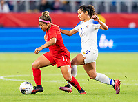 CARSON, CA - FEBRUARY 07: Desiree Scott #11 of Canada sprints past Raquel Rodriguez #11 of Costa Rica during a game between Canada and Costa Rica at Dignity Health Sports Park on February 07, 2020 in Carson, California.