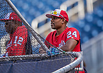 28 April 2017: Washington Nationals Assistant Hitting Coach Jacque Jones watches batting practice prior to a game against the New York Mets at Nationals Park in Washington, DC. The Mets defeated the Nationals 7-5 to take the first game of their 3-game weekend series. Mandatory Credit: Ed Wolfstein Photo *** RAW (NEF) Image File Available ***