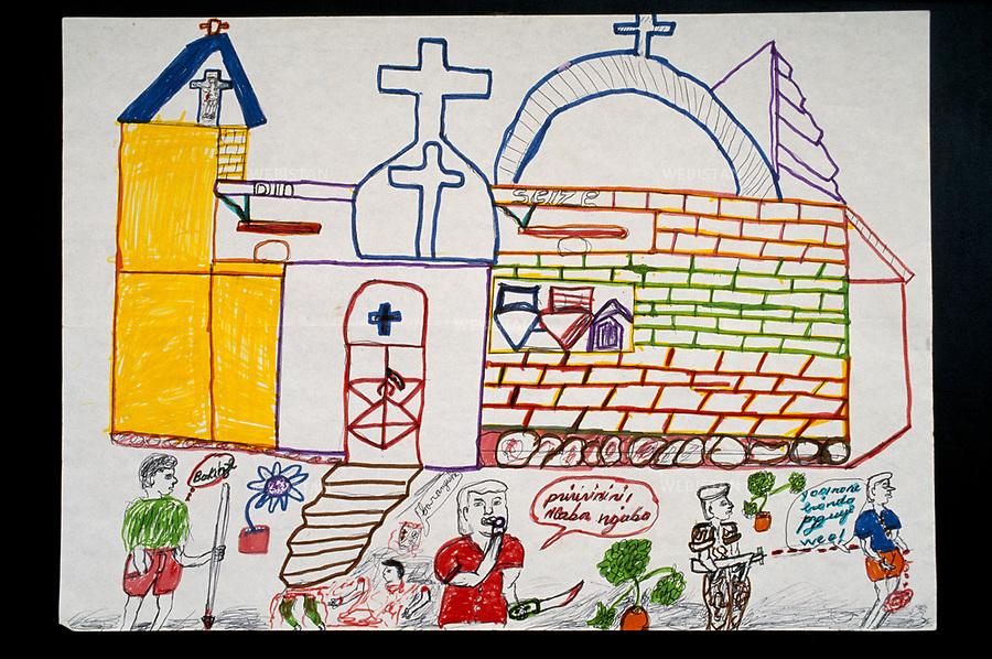 1996. Rwanda. Drawing of a refugee child, witness of the 1994 Rwandan Genocide, produced as part of the psychological support policy set up by UNICEF for the children. Rwanda. Dessin d'un enfant réfugié, témoin du génocide au Rwanda en 1994, réalisé dans le cadre de la politique de prise en charge psychologique des enfants par l'UNICEF.
