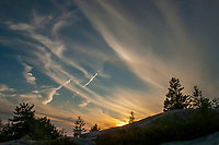 Beautiful clouds at sunset over Gorham Mt in Acadia National park in Maine