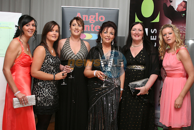 Lucy, Kelly, Cheryl, Theresa and Siobhan Wood from the Drogheda Womens Refuge with Patricia Rooney, President of the Drogheda Chamber at the Drogheda Chamber of Commerce Business Excellence Awards in the City North Hotel....Photo NEWSFILE/Jenny Matthews.(Photo credit should read Jenny Matthews/NEWSFILE)....This Picture has been sent you under the condtions enclosed by:.Newsfile Ltd..The Studio,.Millmount Abbey,.Drogheda,.Co Meath..Ireland..Tel: +353(0)41-9871240.Fax: +353(0)41-9871260.GSM: +353(0)86-2500958.email: pictures@newsfile.ie.www.newsfile.ie.FTP: 193.120.102.198.