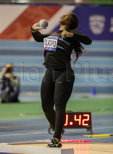 27.02.2016. EIS Sheffield, Sheffield, England. British Indoor Athletics Championships Day One. Divine Oladipo during the Shot Put Final.