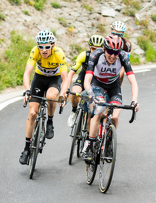 Race leader Geraint Thomas (WAL) Team Sky Yellow Jersey, Dan Martin (IRL) UAE Team Emirates, Adam Yates (GBR) Mitchelton-Scott and Romain Bardet (FRA) AG2R La Mondiale attack on the final climb of Stage 6 of the 2018 Criterium du Dauphine 2018 running 110km from Frontenex to La Rosiere, France. 9th June 2018.<br /> Picture: ASO/Alex Broadway | Cyclefile<br /> <br /> <br /> All photos usage must carry mandatory copyright credit (© Cyclefile | ASO/Alex Broadway)