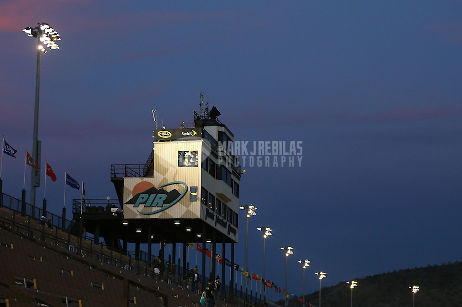 Mar. 2, 2013; Avondale, AZ, USA; Overall view of the timing tower following the NASCAR K&N Pro Series West race, the Talking Stick Resort 60 at Phoenix International Raceway. Mandatory Credit: Mark J. Rebilas-