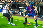 Andres Iniesta Lujan of FC Barcelona competes for the ball with Martin Montoya Torralbo of Valencia CF during the La Liga 2017-18 match between Valencia CF and FC Barcelona at Estadio de Mestalla on November 26 2017 in Valencia, Spain. Photo by Maria Jose Segovia Carmona / Power Sport Images